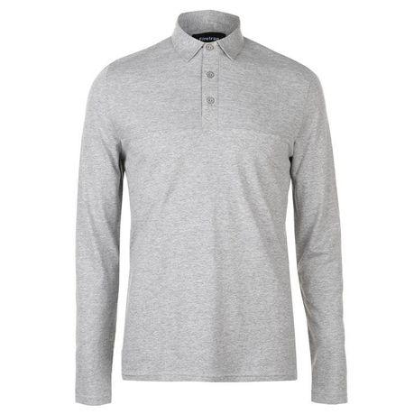 1e2e1baac Firetrap Men's Ripple Long Sleeve Polo Shirt - Grey Marl | Buy ...