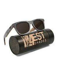 99ac8dae7d 4EST Shades Wooden Polarized Sunglasses - Stone