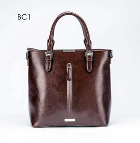 Brad Scott Leather Frenchie Tote - Brown
