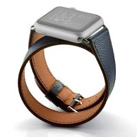 Zonabel 38mm Navy Hermes Leather Wrap Strap for Apple Watch