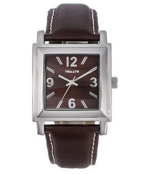 Tomato Men's Square Silver & Brown Watch