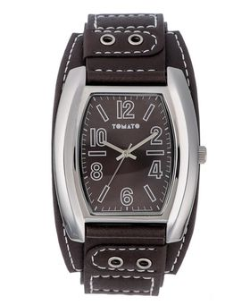 Tomato Men's Silver & Brown Cuff Watch