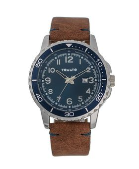 Tomato Men's Navy & Tan Bezel Watch