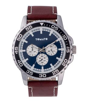 Tomato Men's Navy Brown & Silver Bezel Watch