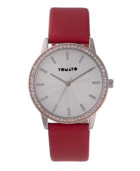 Tomato Women's Red Silver & Stone Watch