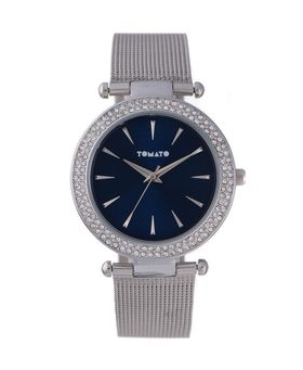 Tomato Women's Navy Stone & Silver Mesh Watch