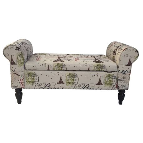 Fantastic Hazlo Double Chaise Ottoman Bench With Storage Paris Print Bralicious Painted Fabric Chair Ideas Braliciousco