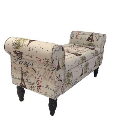 Phenomenal Hazlo Double Chaise Ottoman Bench With Storage Paris Print Bralicious Painted Fabric Chair Ideas Braliciousco