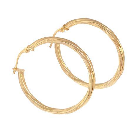 Miss Jewels 9ct Yellow Gold Twist Hoop Earrings 25mm