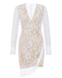 7d4a9d7a1c Quiz Lace Long Sleeve Tassle Dress - Cream