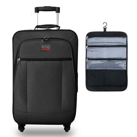 Eco Havanna 57cm Luggage Case Plus Hanging Toiletry Bag Black