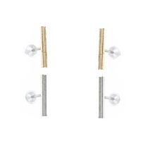 Unexpected Box T-Bar Earrings Set - Silver & Gold