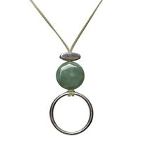 Unexpected Box Long Stone Necklace - Silver & Green