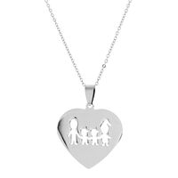 Unexpected Box Mom, Dad & 2 Daughters Heart Necklace