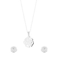 Unexpected Box SS Rose Earring & Necklace Set