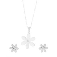 Unexpected Box SS Flower Earring & Necklace Set
