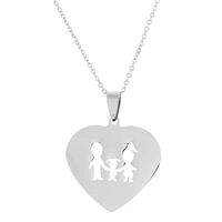 Unexpected Box Mom, Dad & 1 Daughter Heart Necklace