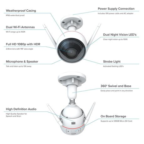 Ezviz Husky Air 1080p Full HD Outdoor WiFi IP Camera - 2 8mm | Buy