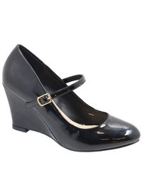 c3deb7c33eac07 Jada Women s Patent Wedge Shoes - Black