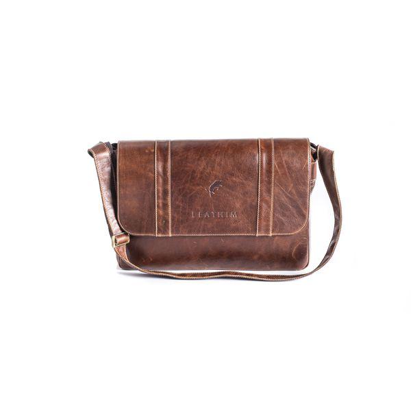 Leathim Old boy II Leather Laptop Bag - Chocolate