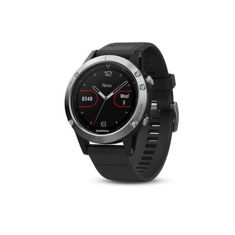 89165149fedf56 Garmin Fenix 5 Sports Watch - Silver with Black Band | Buy Online in ...