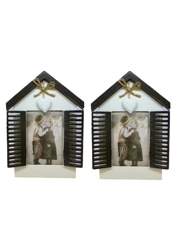 Wooden Window Single Photo Frame Vintage Pocket Shutters - White ...