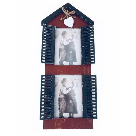 Wooden Window Double Photo Frame Vintage Pocket Shutters - White ...