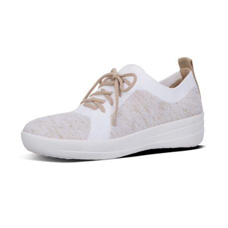 bd6cfa97c FitFlop F-Sporty Uberknit Sneakers - Metallic Gold   White