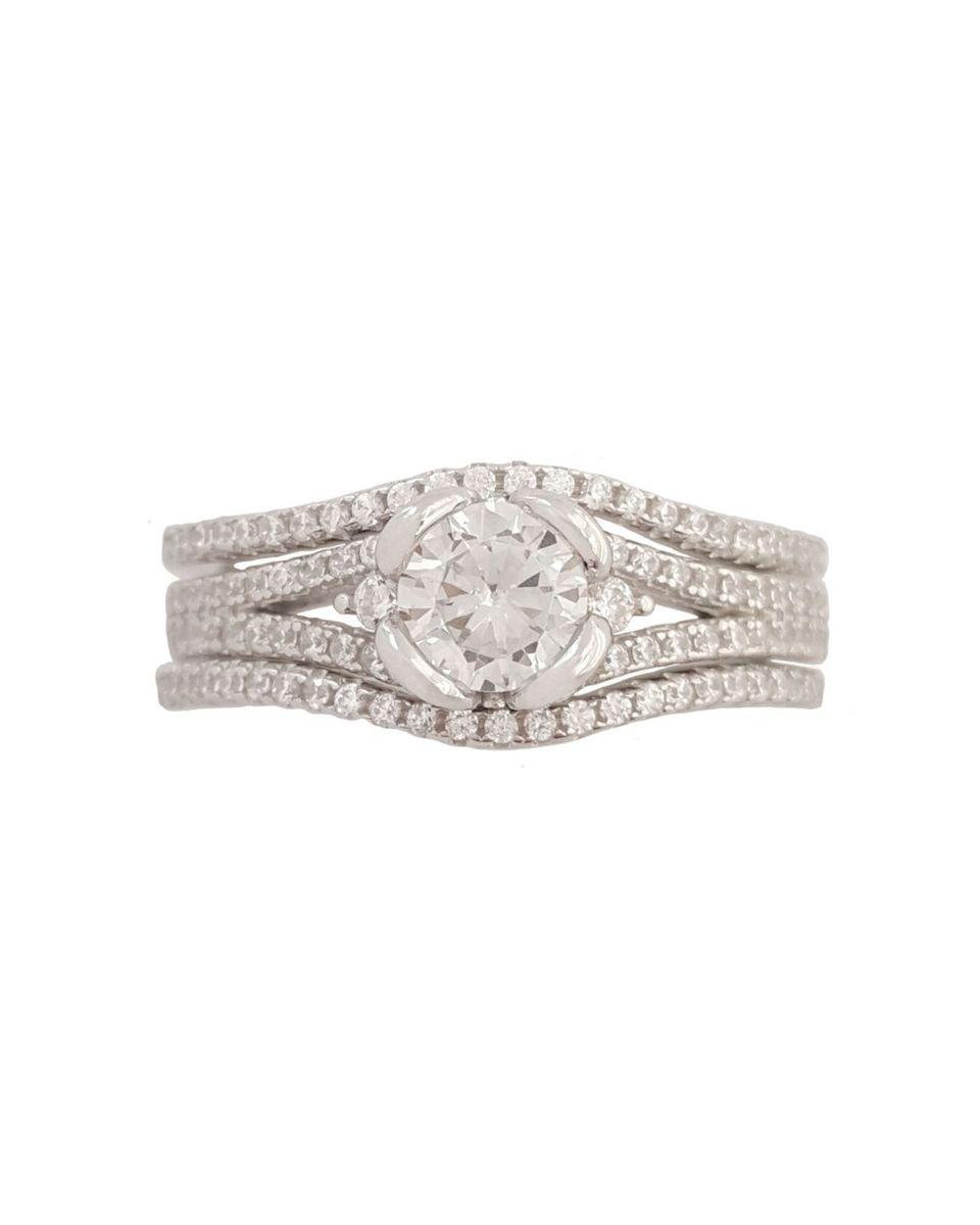 Miss Jewels 0 50ct Cubic Zirconia 3 Piece Wedding Ring Set