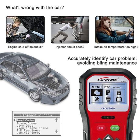 Konnwei KW818 OBD2 Car Diagnostic Scanner Pro Tool | Buy Online in