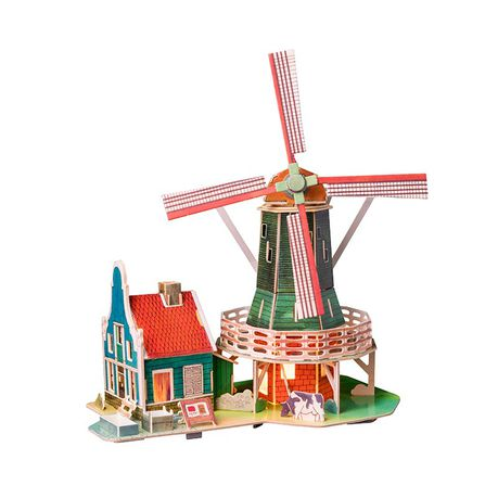 Robotime Dutch Windmill 3d Wooden Puzzle Gift With Led