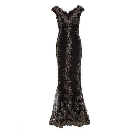 d527d4fceeb Quiz Black   Gold Embroidered Scallop Fishtail Maxi Dress - Black ...
