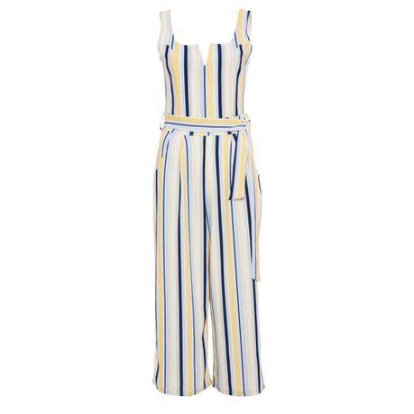 247217c308c Quiz Cream Lemon   Blue Stripe Culotte Jumpsuit - Cream