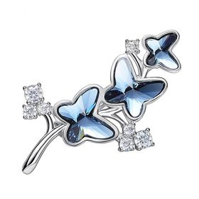 CDE Butterfly Bloom Brooch/Scarf Pin with Swarovski Crystals | Buy