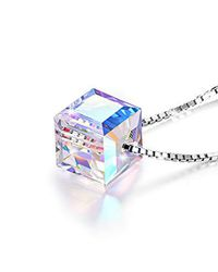 45a11414b Fine 100% 925 Sterling Silver Colorful Crystal Rubik's Cube Necklace