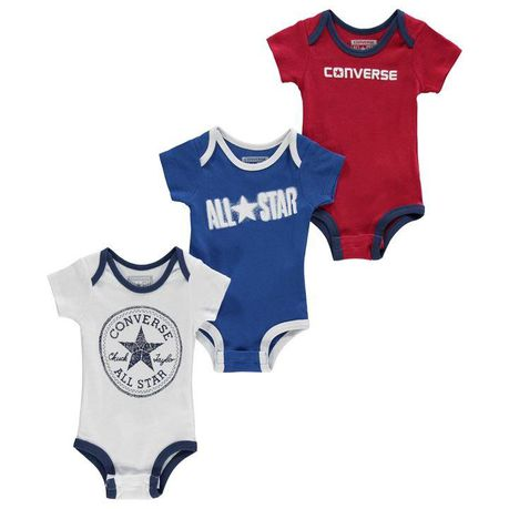 ff1cddc21fcd Converse Baby Romper Suits 3 Pack - Blue