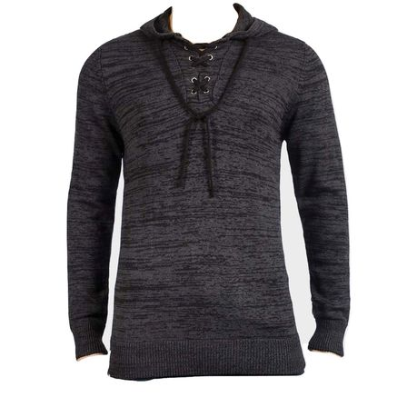 027a5d0d3a0 Brave Soul Men's Lace Up Knitted Jumper with Hood - Charcoal | Buy ...