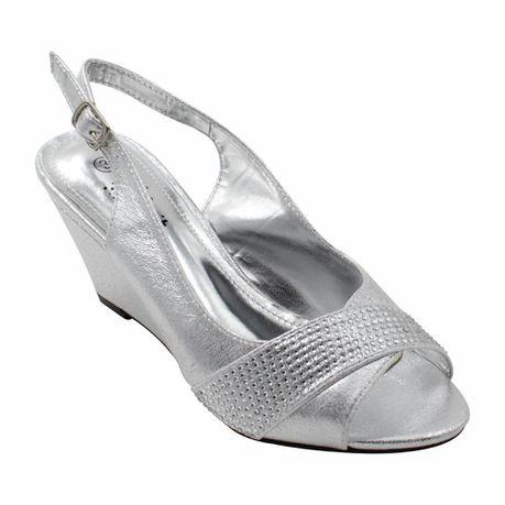 3d09f7eee2c Silver Evening Sandals Wedge Heels