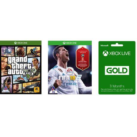 GTA V + Fifa 18 + Xbox Live 3 Month Gold Bundle (Xbox One)