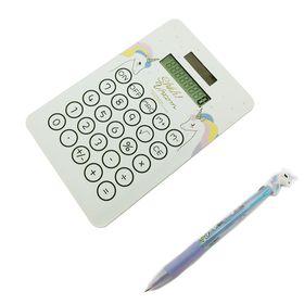 Unicorn Calculator Pen Pink