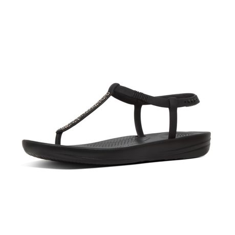 b0491b0f425e23 FitFlop iQushion Splash Sparkle Flip Flops - Black