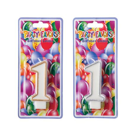 Bulk Pack X 6 Candles Birthday Large Number 1 Silver Gold