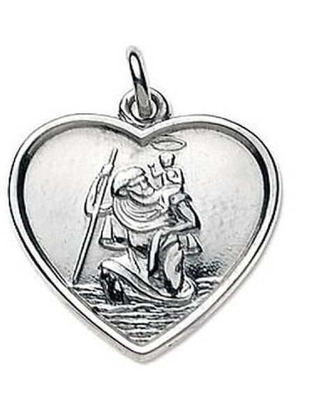 Sterling Silver St Christopher (Heart Shaped)