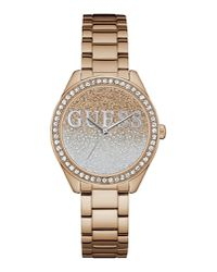 87e50d9ef Guess Women's GLITTER GIRL Watch With Round Case - Rose Gold