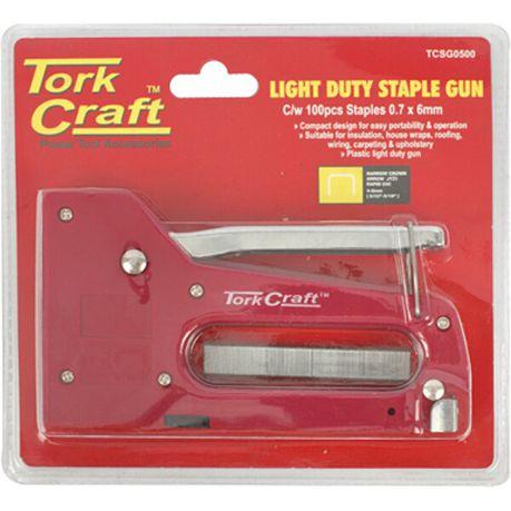 Tork Craft Staple Gun Light Duty With 100pc 0 7mmx8mm Jt21 Staples