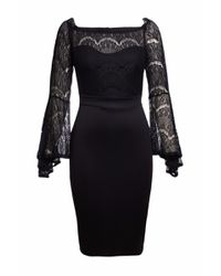 a33155fb7 Black Lace Bell Sleeve Off Shoulder Bodycon Party Dress