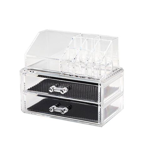 Acrylic Makeup Organizer With 2 Drawers 9 Compartments