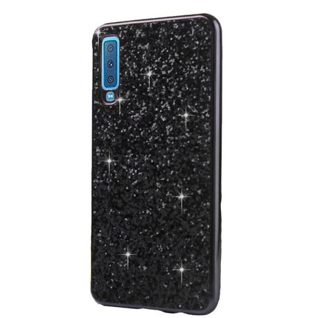 on sale 00642 1dc16 Samsung A7 2018 Glitter Powder Cover Black