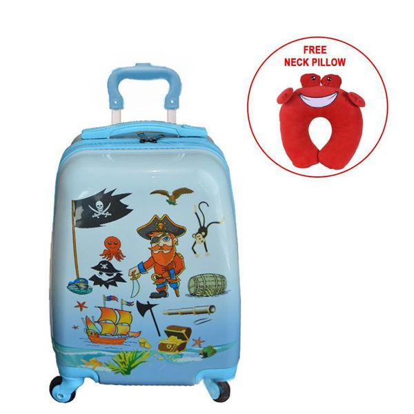 Eco Kids Pirate Design Luggage Bag With Free Crab Neck Pillow