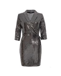 11bf0dc1 Quiz Ladies Black and Silver Sequin Chevron Wrap Dress - Black
